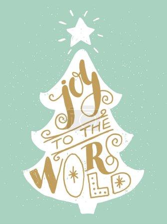 Illustration pour Silhouette de sapin de Noël avec inscription Joie au monde lettrage coloré unique . - image libre de droit