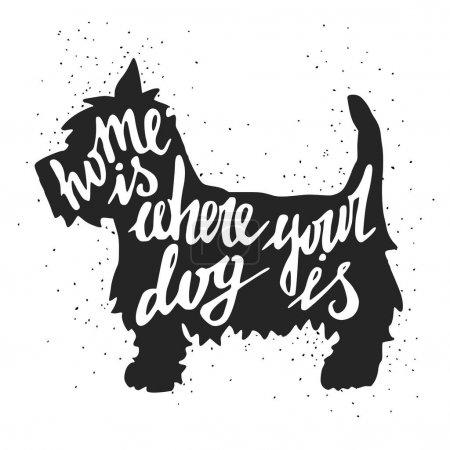 Illustration pour Silhouette du chien avec la main de la maison où votre chien est inscription inscription devis. Illustration vectorielle. - image libre de droit