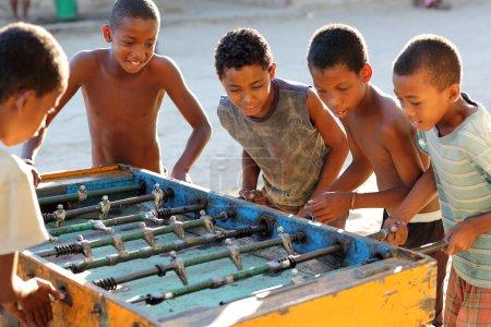 A group of boys play