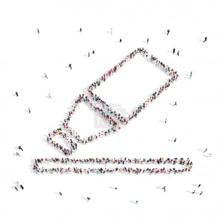 Photo pour D'en haut les gens marchent et se tiennent debout dans l'emblème du stylo feutre isolé sur le blanc.Illustration 3D. rendu 3D . - image libre de droit