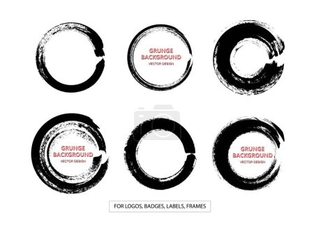 Set of Black Grunge Circle Stains, Shapes. Vector illustration. Hand Drawn Enso Zen Ink Circles Collection.
