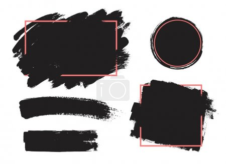 Illustration for Dirty artistic design elements, boxes, frames for text.Set of black paint, ink brush strokes, brushes, lines. - Royalty Free Image