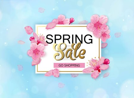 Spring sale background with flowers. Season discount banner design with cherry blossoms and petals.