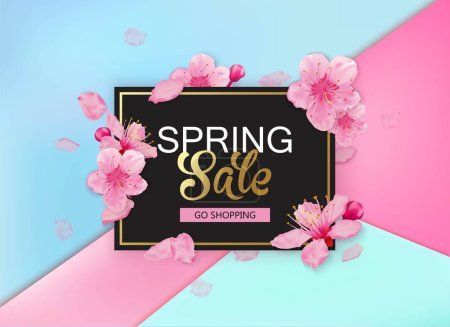 Illustration for Spring sale background with flowers. Season discount banner design with sakurs and petals. - Royalty Free Image