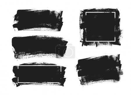 Illustration for Set of universal grunge black paint background with frame. Dirty design elements, boxes, frames for text. - Royalty Free Image