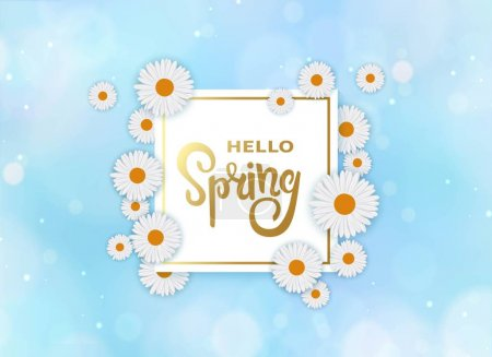 Hello spring background with frame, white flowers and blue bokeh sky.