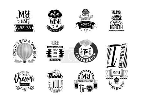 Illustration pour Vœux autocollants, peut être utilisé pour la conception de cartes postales, les réseaux sociaux, les blogs. Typographie, lettrage fait main - image libre de droit