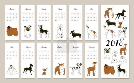 2018, calendar, dog, breed, graphic