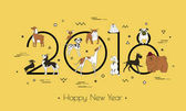 Banner in breeds of dogs - symbol 2018 Happy New Year Memphis style Isolated on white background Eastern calendar Vector illustration
