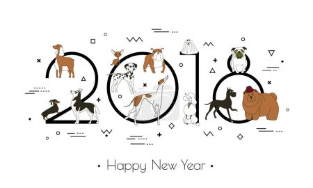 Banner in breeds of dogs - symbol 2018. Happy New Year. Memphis style. Isolated on white background. Eastern calendar. Vector illustration