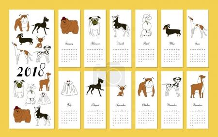 Monthly creative calendar 2018 with dog breeds. Concept, vector vertical editable template. Symbol of the year in the Chinese calendar. Minimalism. Vector illustration. Isolated
