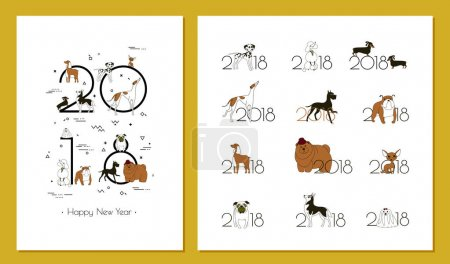2018 - the year of the dog to the Eastern calendar. Creative headline and 12 logos with different breeds of dogs. Minimalism. Sketch. Isolated. Vector illustration