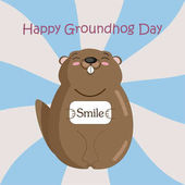 Funny groundhog in black hat on blue and grey stripes background Vector Design with Cute Marmot Character - Advertising Poster or Flyer Template