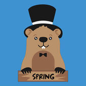Funny groundhog in black hat on blue background with smile card Vector Design with Cute Marmot Character - Advertising Poster or Flyer Template