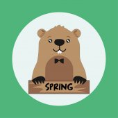 Funny groundhog on round green background with spring card Vector Design with Cute Marmot Character - Advertising Poster or Flyer Template