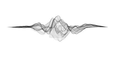 Illustration for Futuristic Hud, ui vector grid. Music sound waves set. Audio digital equalizer technology, pulse musical. - Royalty Free Image