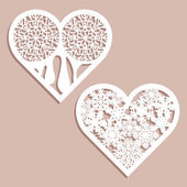 Set stencil lacy hearts with carved openwork pattern Template for interior design layouts wedding cards invitations Image suitable for laser cutting plotter cutting or printing