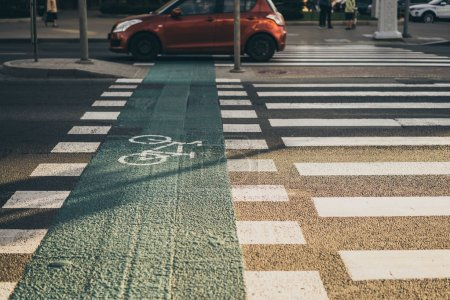 pedestrian crossing in city
