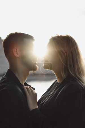 Woman and man looking each other
