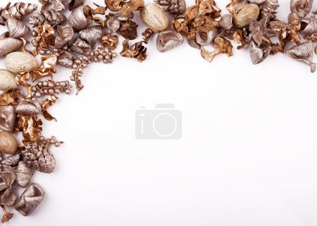 Christmas flat lay mockup desktop, gold potpourri on a white background