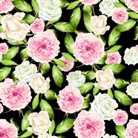 Photo for Beautiful watercolor pattern with flowers rose and peony. illustration - Royalty Free Image