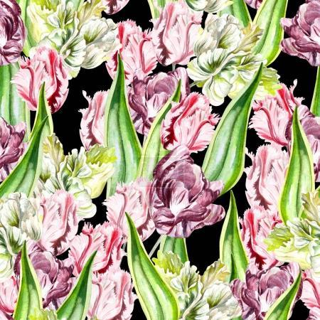 Beautiful seamless pattern of pink and purple tulips.