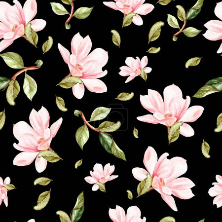 Photo for Beautiful watercolor pattern with flowers and leaves of magnolia. Illustration. - Royalty Free Image