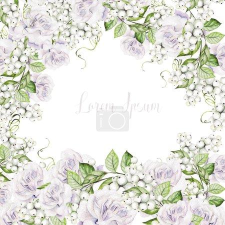 Photo pour Belle carte de mariage aquarelle avec aquarelle snowberry, feuilles et roses tendres. Illustration - image libre de droit