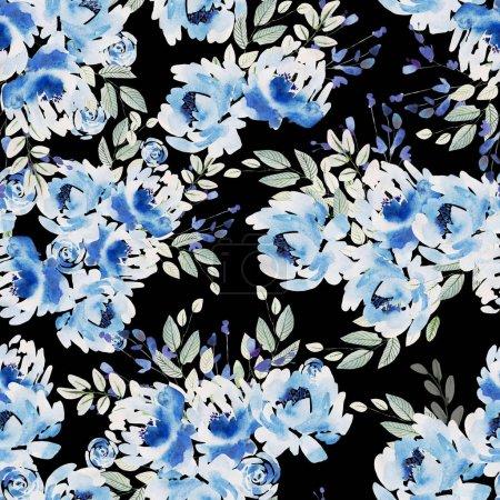 Photo pour Beau motif aquarelle sans couture avec des roses et des fleurs de pivoine. Illustration - image libre de droit