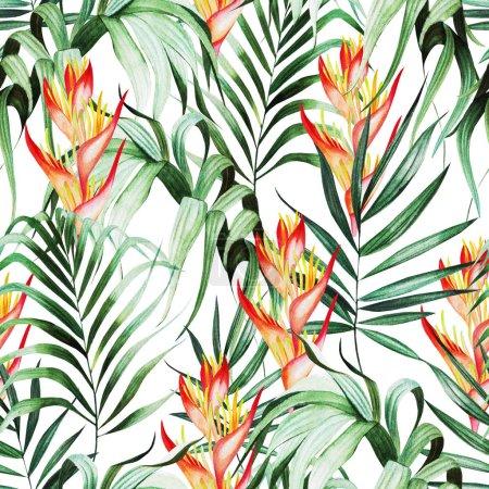 Photo pour Beau motif aquarelle sans couture avec des feuilles tropicales, fleurs strelitzia. Illustration - image libre de droit