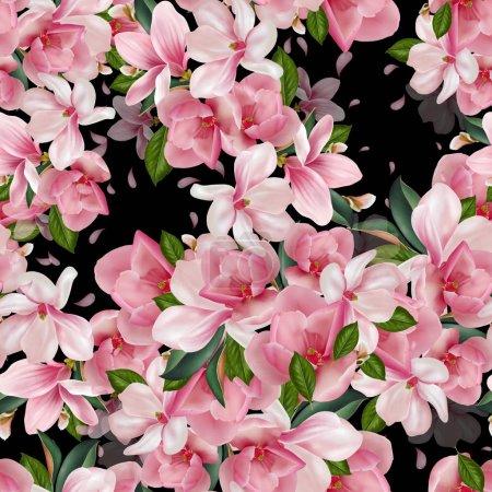 Piękny wzór z magnolii kwiaty, liście i płatki.