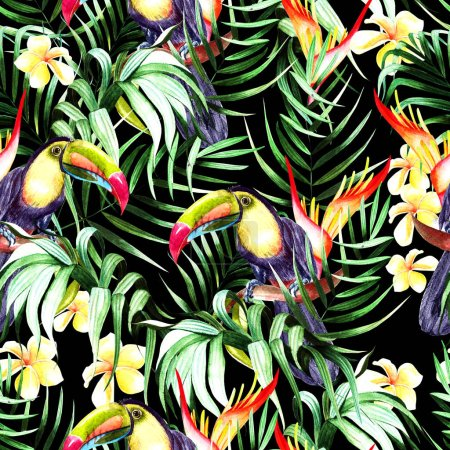 Photo for Beautiful watercolor seamless pattern with tropical leaves and bird tukan, hibiscus flowers and strelitzia.  Illustration - Royalty Free Image
