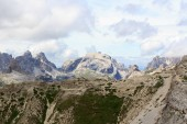 Mountain Birkenkofel panorama and footpath at Bullelejoch in Sexten Dolomites, South Tyrol, Italy