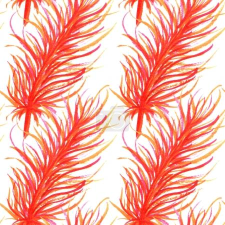 Watercolor feathers abstract seamless pattern