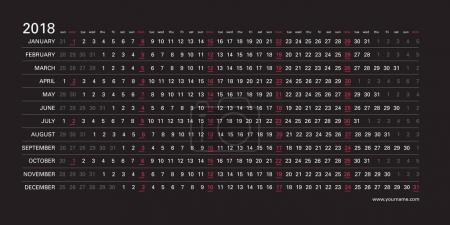 Creative wall calendar 2018 with horizontal black design, magenta color mondays selected, english language. Elegant template for web, business, print, postcard, wall, bookmark and banner.