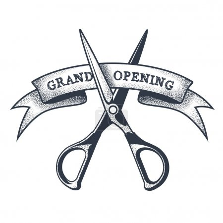 Grand opening banner - scissors cutting a ribbon, ...