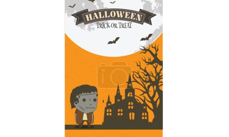 Illustration for Halloween night party invitation card vector background - Royalty Free Image
