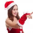 Asian Christmas Santa Claus girl  do touch screen ...