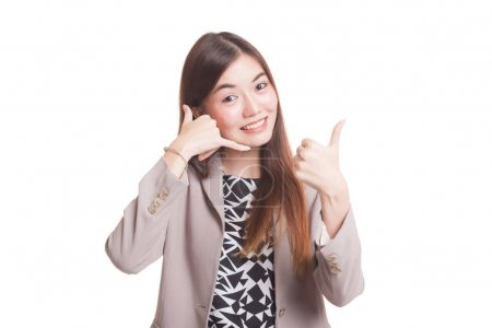 Young Asian woman thumbs up show with phone gesture.