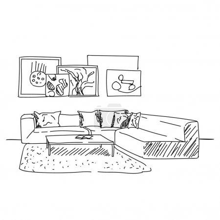 Moderno salón interior vector boceto con sofá y un montón de