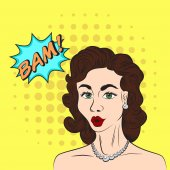 Pop art style sketch of beautiful brunette woman saying BAM!