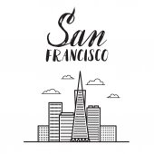 San Francisco illustration with modern lettering and city skyscr