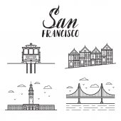 San Francisco illustration with modern lettering painted ladies