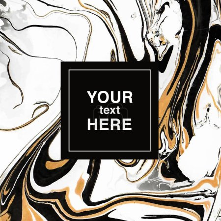Black-golden-white abstract marbling background for invitation
