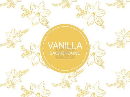 Illustration pour Vecteur de fleurs de vanille croquis dessiné à la main - image libre de droit