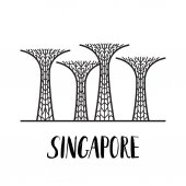 Famous Singapore landmark Gardens by the Bay with modern lettering