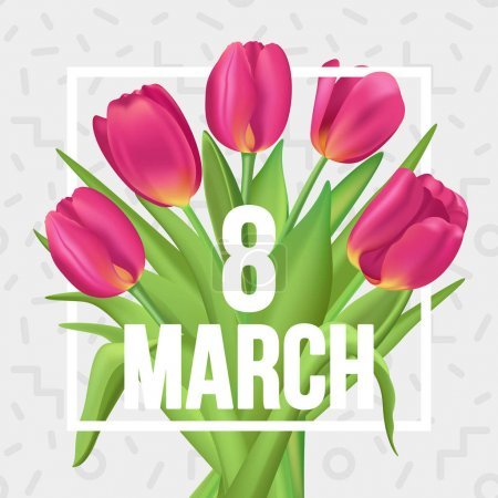 8 March typographic spring poster with tulips bouquet.