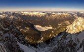 Beautiful view from highest mountain peak Zugspitze near Garmisch Partenkirchen. Bavaria, Germany.