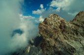 Beautiful view from highest mountain peak Zugspitze near Garmisch Partenkirchen. Summer day with amazing view at several peaks. Bavaria, Germany.