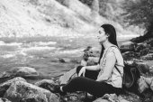 Young tourist girl enjoy nature